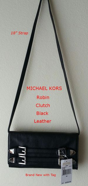 Michael Kors Robin Clutch Crossbody Black Leather for Sale in Fairfax, VA