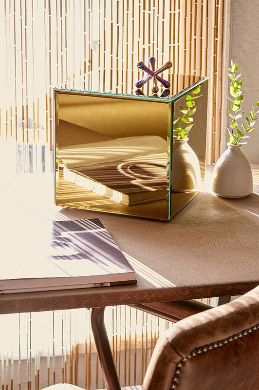 Urban Outfitters Uo Home Decor Gold Mirror Mirrored Cube Modern Contemporary For Sale In Portland OR