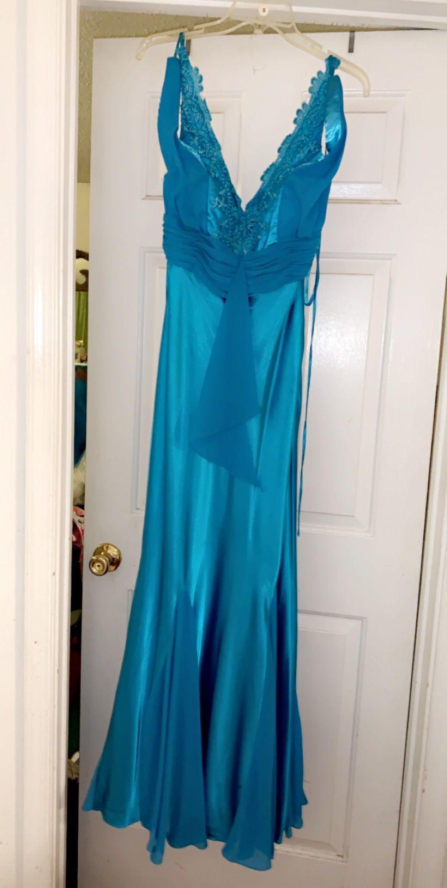 Sky Blue Sequins Prom Dress