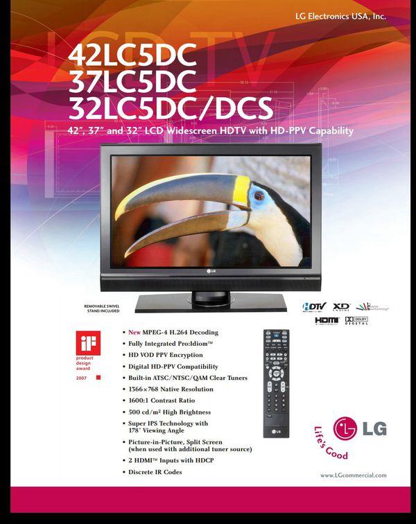 LG 42LC5DC-UA with original remote for Sale in Pompano Beach, FL - OfferUp