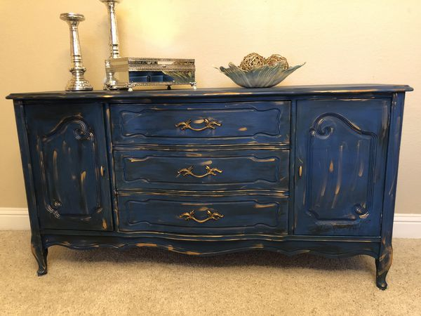 Amazing Bassett Buffet Credenza Dresser Painted In Safire Blue Chalk Paint And Accented With Gold And Black Wax Length 37 Ht 31 Depth 18 For Sale In Download Free Architecture Designs Embacsunscenecom