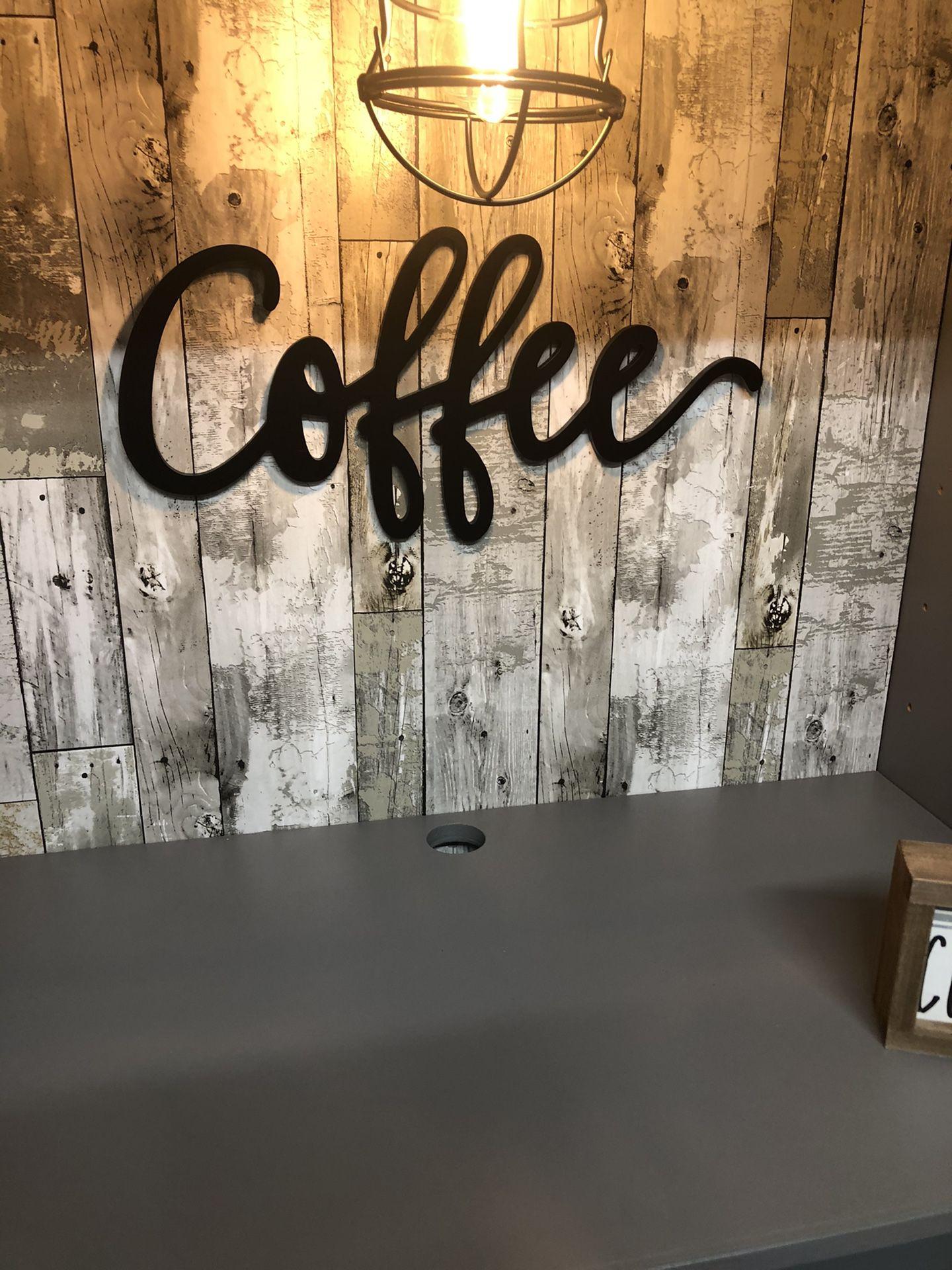 Hutch Coffee bar, coffee station hutch. Reclaimed wood farmhouse decor