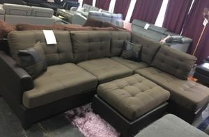Brand New Brown Linen Sectional Sofa Couch +Ottoman for Sale in Silver Spring, MD