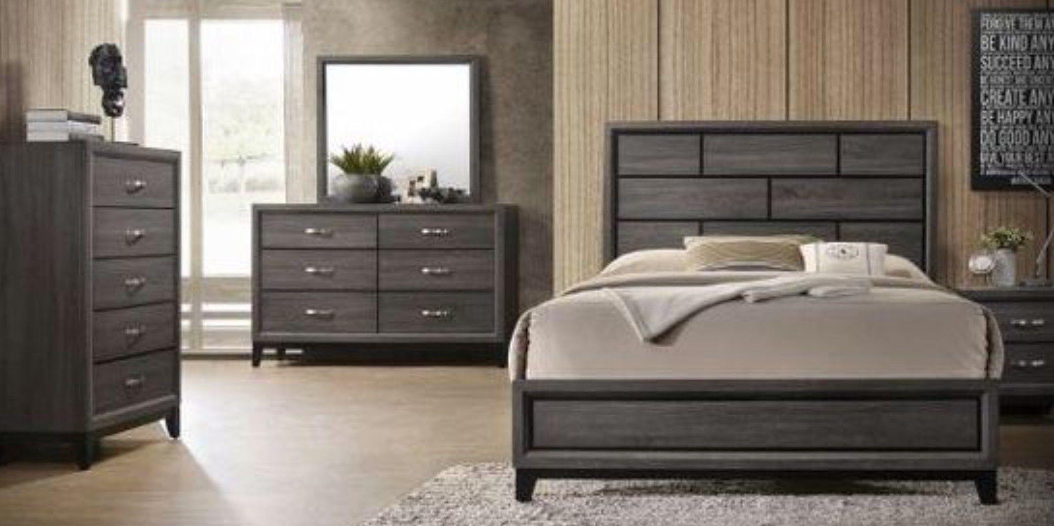 39 $down payment only 🤗4-PIECE QUEEN size gray bedroom set ( bed,Dresser,mirror,Nightstand)