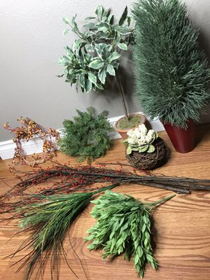 Assorted plant tree red berry fake greenery fall topiary decor for Sale in Tacoma, WA