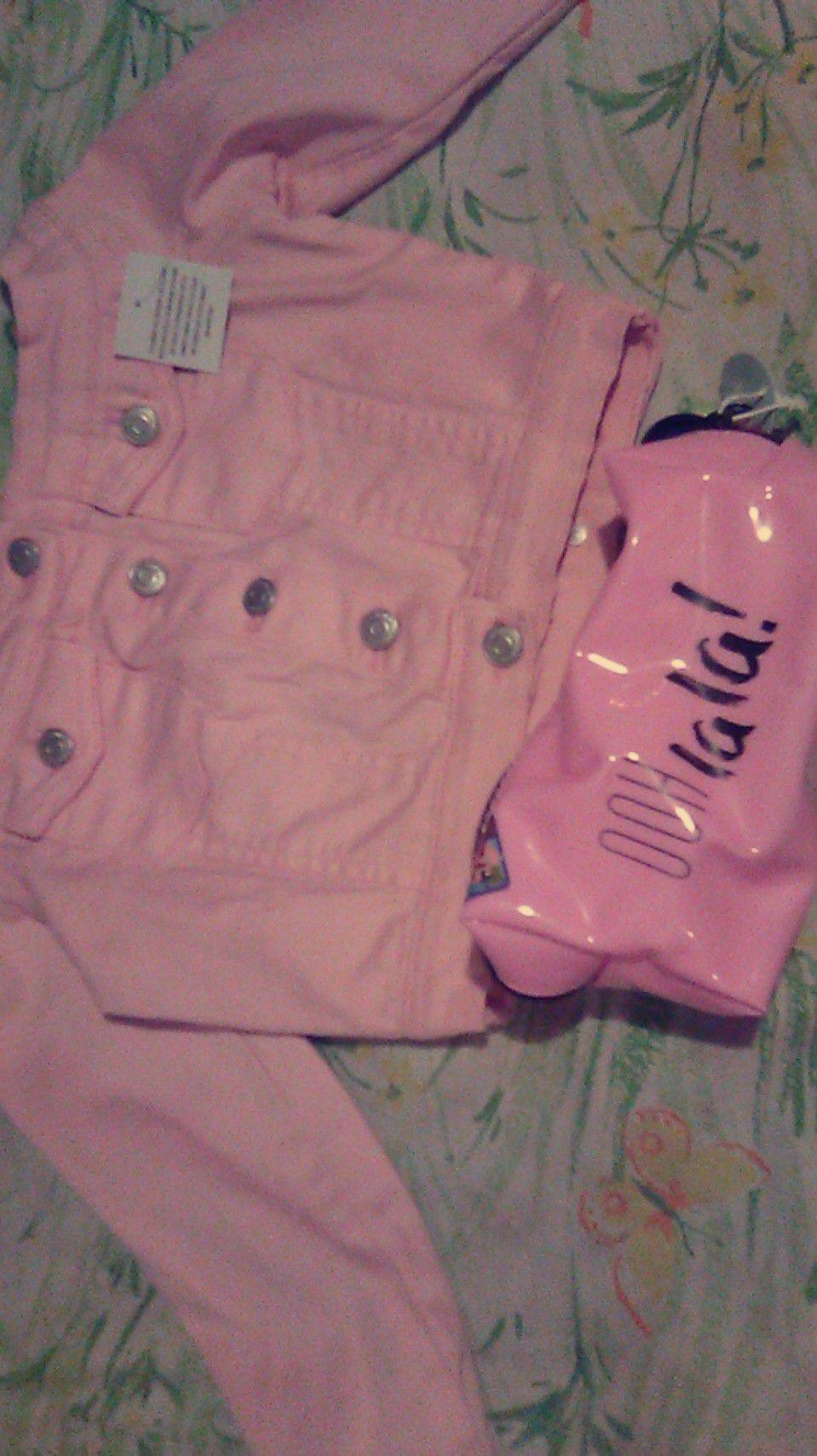 Parisian pink denim jackets and a bag