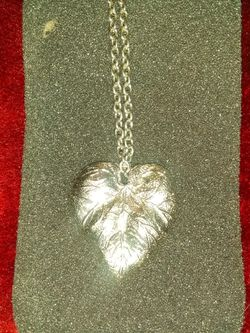 Large silver leaf pendant on silver chain Thumbnail