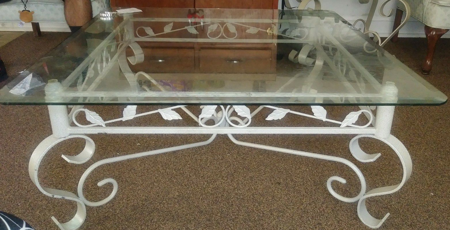 Nice floral glass center table and end table