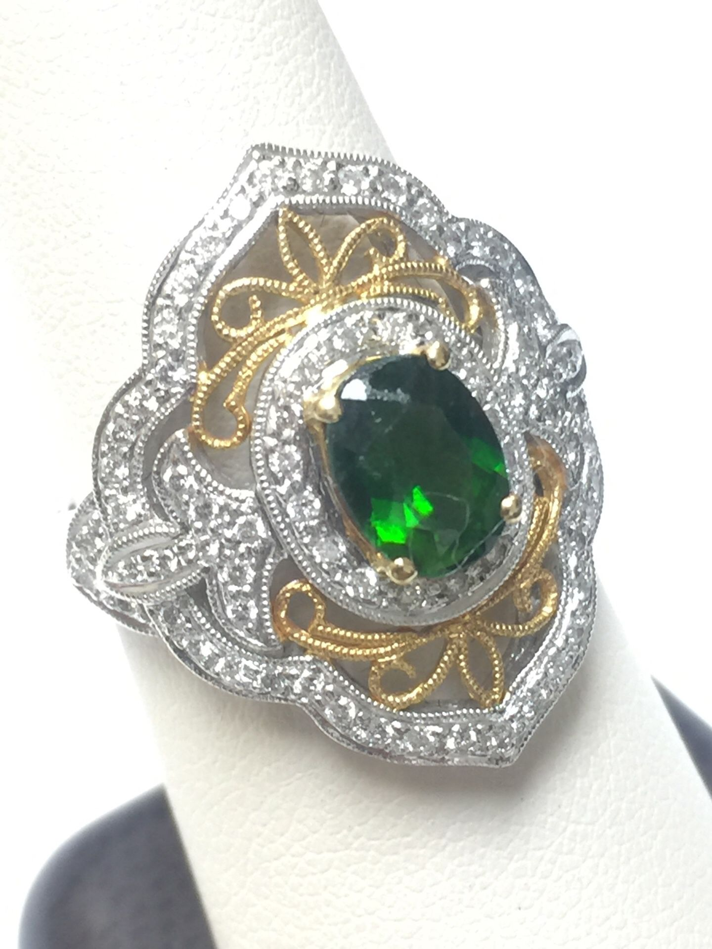 18 k yellow gold and 14k white gold ring size 7.5