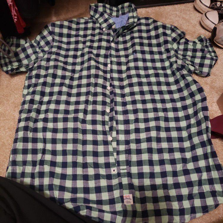 Short Sleeve Button Shirt, Plaid, XL