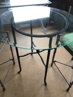 3ft round glass and counter height chairs Thumbnail