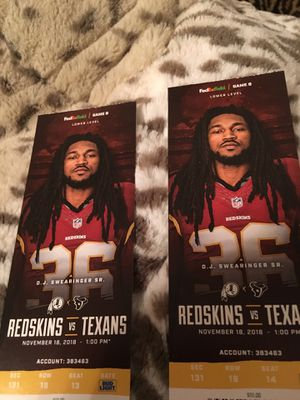 Redskins vs Texans Tickets for Sale in Fairfax Station, VA