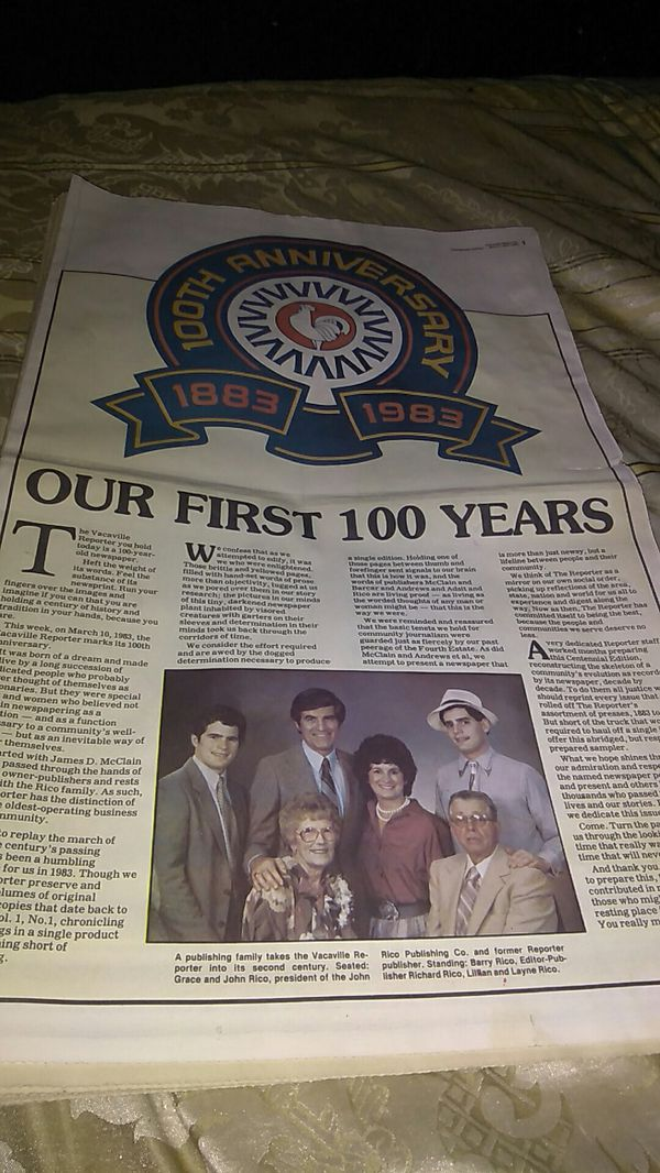 1883-1983 Vacaville Reporter anniversary edition yrs for Sale in Vacaville,  CA - OfferUp
