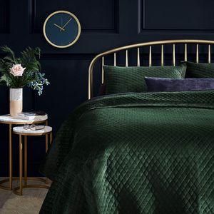 Photo Glam Diamond Quilted Velvet Coverlet Bedding Set Emerald Green