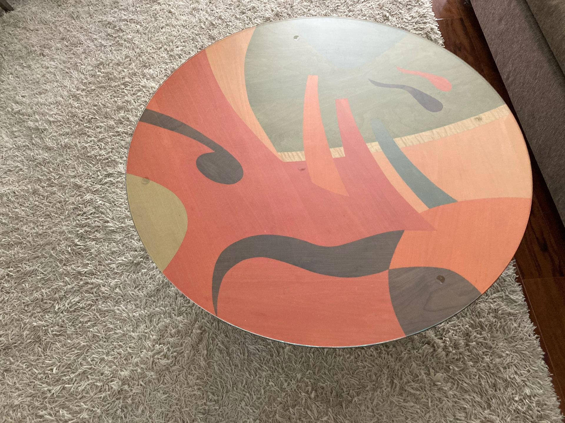 Benjamin Le AXI Furniture Inlaid/dyed Mid-Century Modern Art Coffee Table 42''
