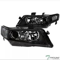 Topline For 2004-2008 Acura TSX JDM Projector Headlights Signal Nb - Black Clear Thumbnail