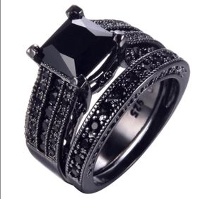 New s925 black gunmetal wedding ring set engagement ring for Sale in Orlando, FL