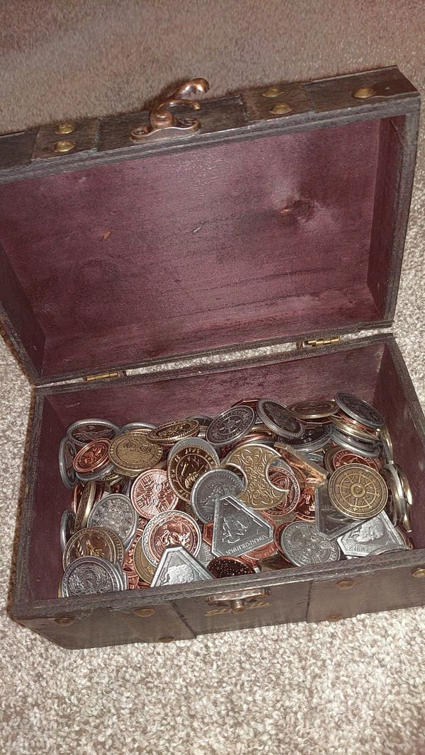 Treasure chest full of metal fantasy, Sci fi, and steam punk coins from  Fantasy Coins for Sale in Portland, OR - OfferUp