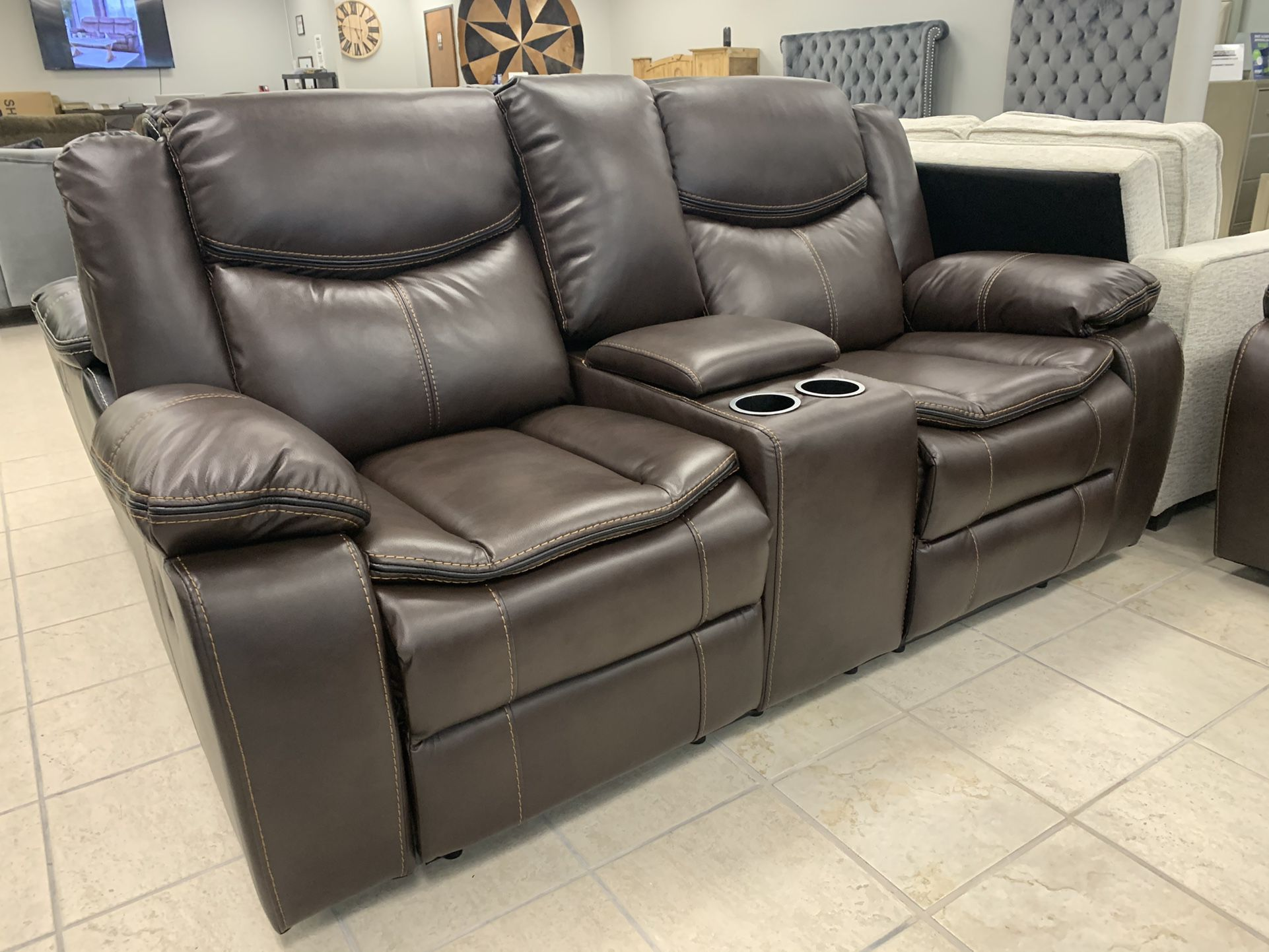 Brand New Leather Gel 3PC Reclining Living Room Set
