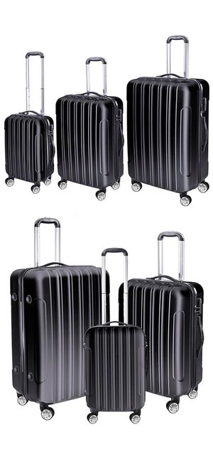 New 95 Black 3 Piece Luggage Travel Set Bag ABS Trolley Rolling Wheels Suitcase 20