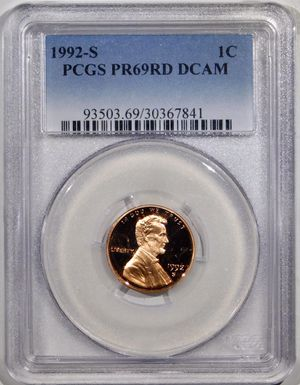 Photo 1992-S Lincoln Cent PCGS PR-69 RED DCAM