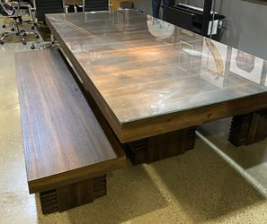 custom wood table with benches Thumbnail