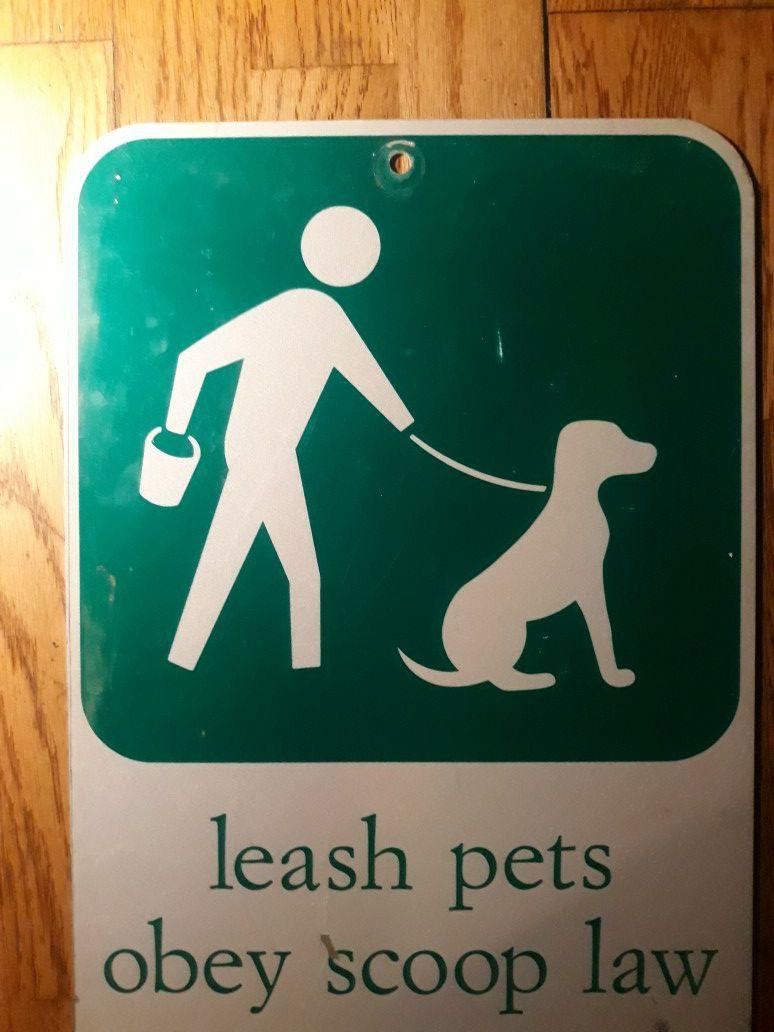 Leash Pets Metal Sign
