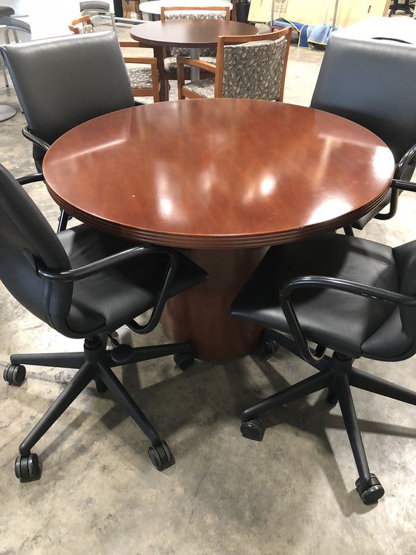 NICE LIKE NEW ROUND CHERRY WOOD CONFERENCE TABLE Chairs Sold - Conference table and chairs for sale