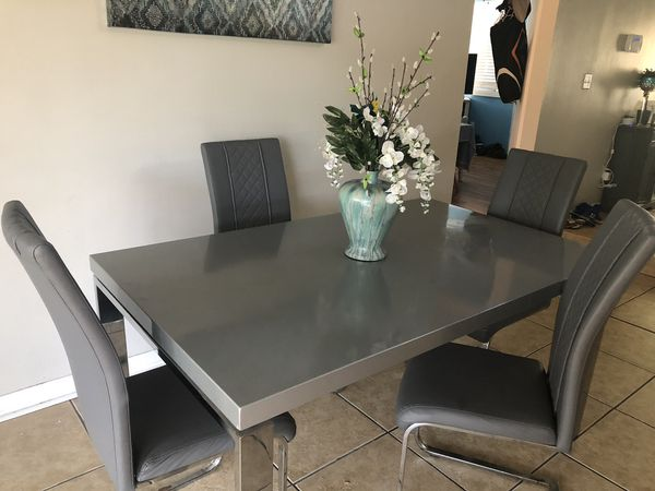 Grey Dining Kitchen Table With 4 Chairs For Sale In