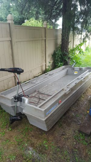 Plastic two man boat with trolling motor for Sale in Columbus, OH