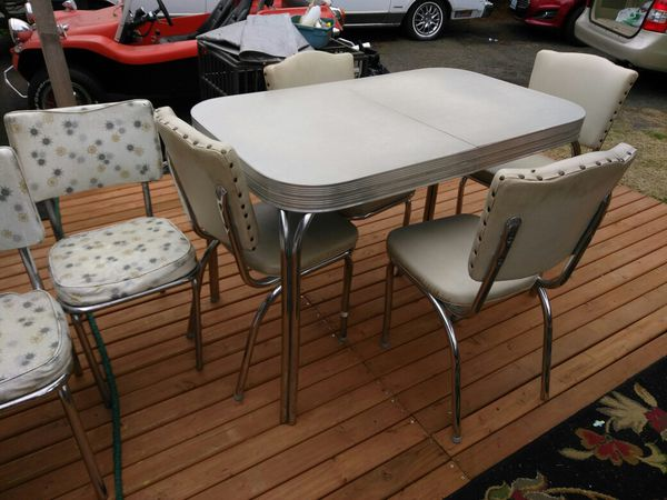 Vintage Light Grey Formica Top Kitchen Table And 4 Chairs 1950s Retro Chrome Legs Made In Usa For Sale In Kent Wa Offerup