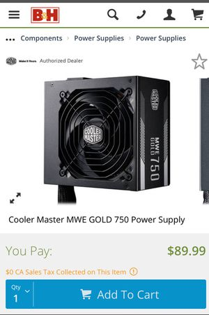 Cooler master 750 watt power supply 80 gold for Sale in Lynwood, CA