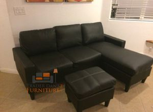 Brand New Black Faux Leather Sectional Sofa Couch +Ottoman for Sale in Silver Spring, MD