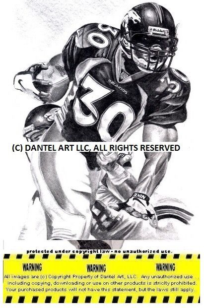 JOHN ELWAY SHANNON SHARPE ROD SMITH MIKE SHANAHAN TERRELL DAVIS Super Bowl 32 & 33 Denver Broncos Lithograph Pencil drawing print set 8x10 Limited Ed
