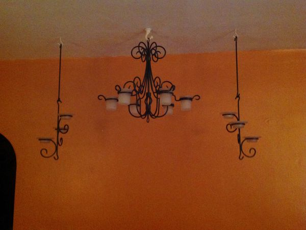 Party lite wall hanging chandelier with matching side scones very party lite wall hanging chandelier with matching side scones very heavy inside or outside use for sale in buffalo ny offerup aloadofball Gallery