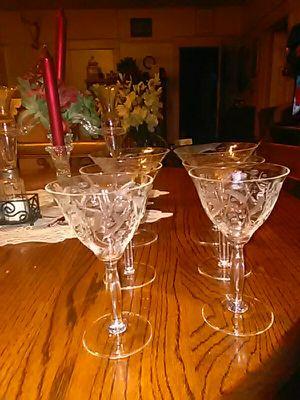Old etched glasses for Sale in Barryton, MI