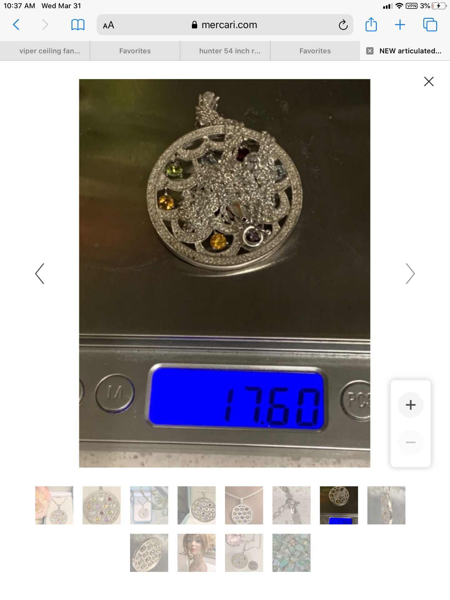 designer rare find ! articulated GEMSTONES ~ Pave set DIAMONDS medallion  / slide  NOS