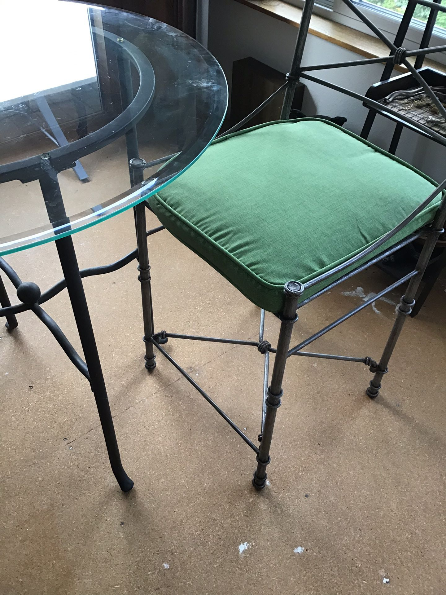 3ft round glass and counter height chairs
