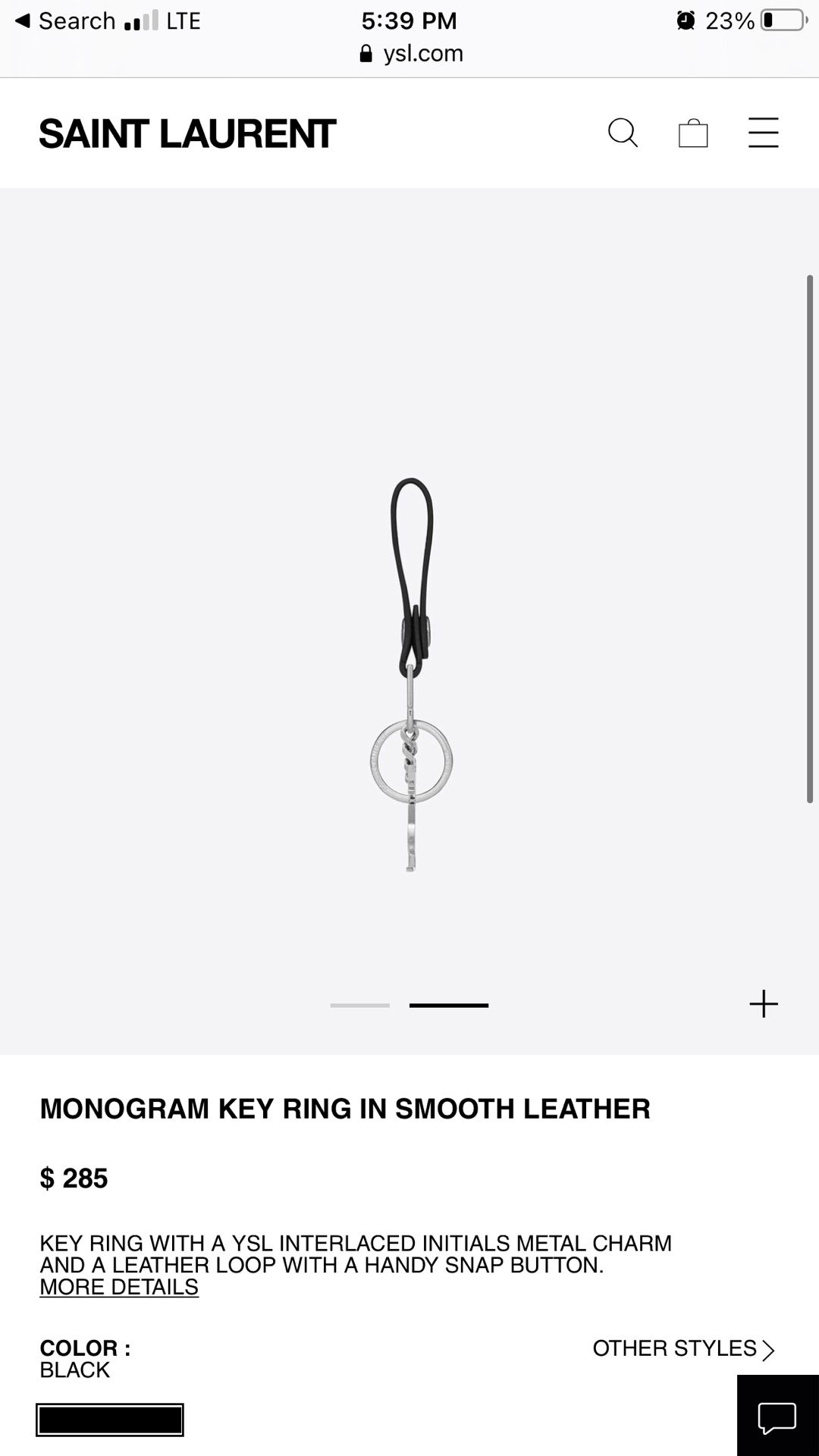 Saint Laurent Silver Leather KeyChain