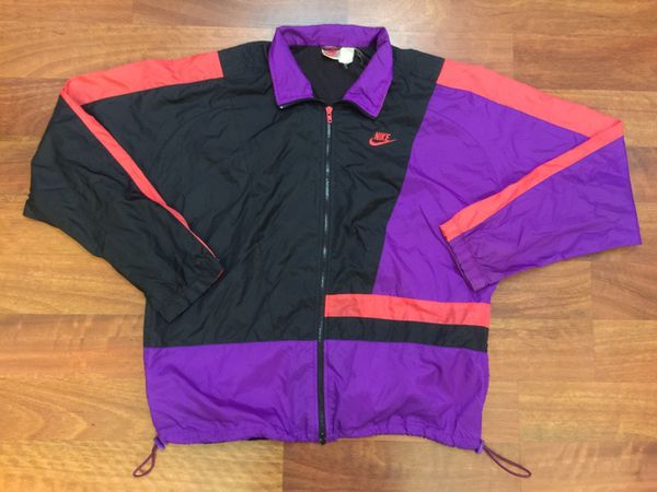 Vintage Nike Full Zip Up Lightweight Windbreaker Jacket Size Large Purple  Black Pink 210804bcd