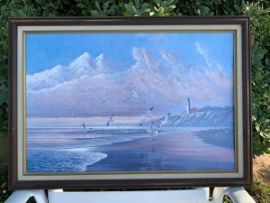 ~~MARITIME SEASCAPE ~~ BY AUGUST HOLLAND~~ From Sea to Shining Sea Lighthouse August Holland 19 BY 27 for Sale in San Francisco, CA