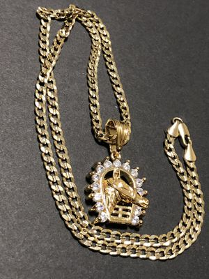 Curb Cuban link GOLD PLATED Necklace 20inches In Length With CZ Lucky Horse Charm for Sale in Orlando, FL