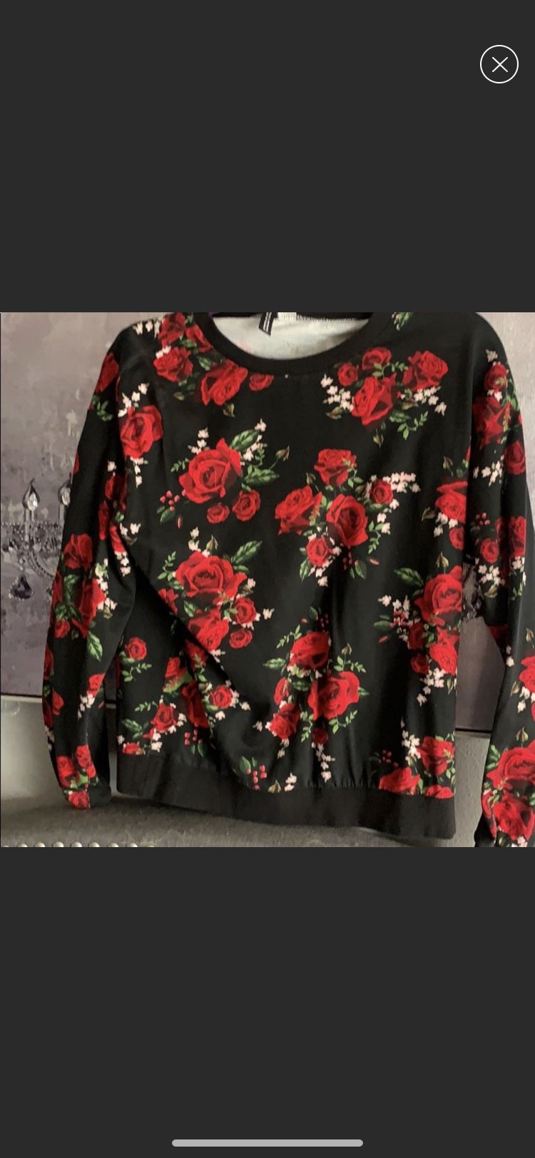 Rockabilly rose sweater vibrant size medium m tattoo