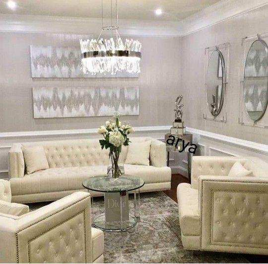 3️⃣✔7️⃣ Days Delivery.EXCLUSIVE] Lucas Velvet Cream Living Room Set10        byMeridian
