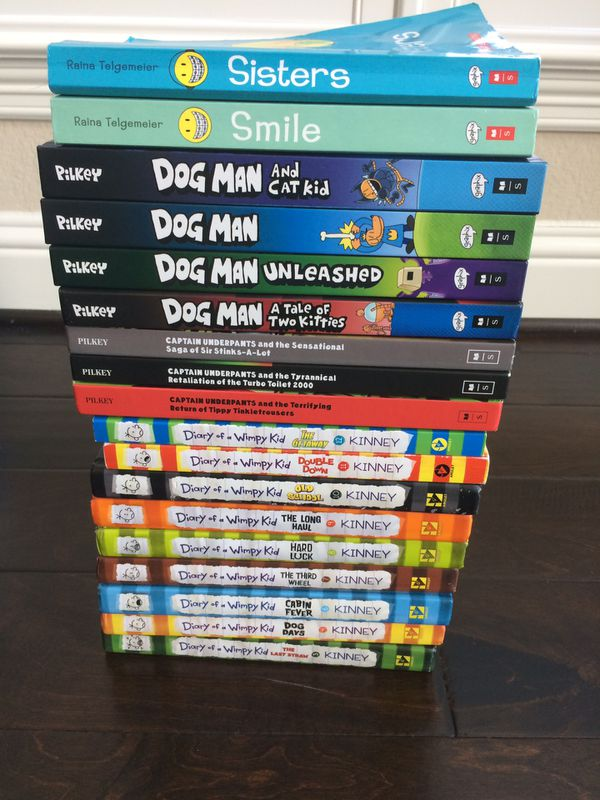 Set Of 18 Kids Books Diary Of A Wimpy Kid Dog Man More For Sale In Katy Tx Offerup