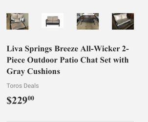 Liva Springs Breeze All-Wicker 2-Piece Outdoor Patio Chat Set with Gray Cushions Thumbnail