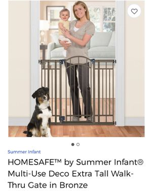 Brand new HOMESAFE SUMMER INFANT MULTI USE DECO EXTRA TALL WALK THRU GATE MADE IN BRONZE for Sale in Rockville, MD
