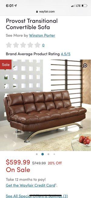 Brown futon convertible sofa leather for Sale in North Miami Beach, FL