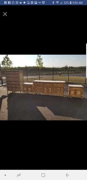 4 piece French Provencial bed room set. Dresser, Chest, and 2 night stands for Sale in Aldie, VA