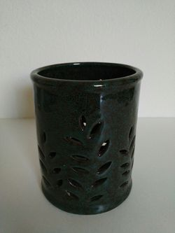 Leaf Cutout Green Ceramic Glazed Orchid Plant Flower Pot Candle Holder Thumbnail